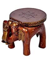 Little India Designer Wooden Elephant Stool Handicraft  (17.78 cm x 12.7 cm x 24.13 cm,HCF304)
