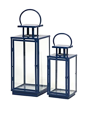 Set of 2 Essentials Lanterns, Marine Blue