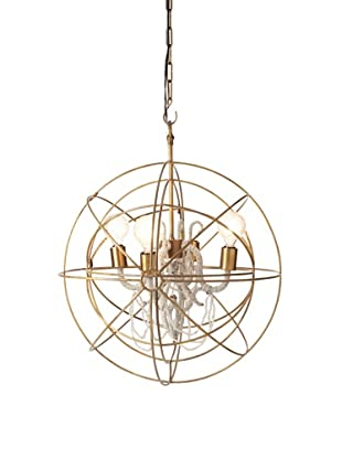 Filling Spaces Hand Beaded Chandelier, Brass