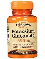Sundown Naturals Potassium Gluconate, 595 mg, 100 Caplets