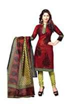 Shee Ganesh Women's Cotton Unstitched Dress Material (823_Maroon_Free Size)