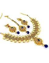 Megh Craft Women's Bollywood Style One Gram Gold Kundan bridal Necklace Set With Maang Tikaa