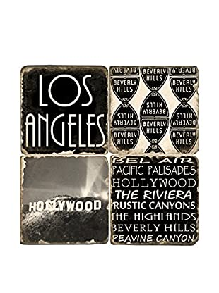 Studio Vertu Set of 4 Los Angeles Tumbled Marble Coasters with Stand