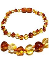 """The Art of CureTM Baltic Amber Baby Teething Bracelet- Honey 1x1 W/""""the Art of Cure"""" Jewelry Pouch-TM"""