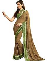 Pagli mehndi green colour printed georgette saree with silk border