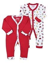 Morisons Baby Dreams Red Full Sleeves Romper - Set Of Two