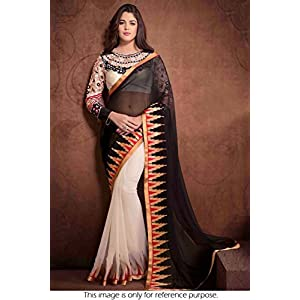 Bollywood replica model georgette black and off-white saree