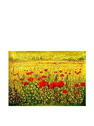 Legendarte Pintura al Óleo sobre Linezo Orizzonte Di Papaveri multicolor