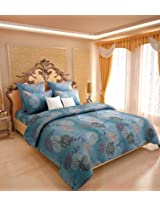 Amethyst Attractive Cotton Double Bedsheet with 2 Pillow Covers - Blue