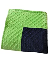 Cozy Wozy Signature Minky Baby Blanket, Navy Blue/Lime Green, 30