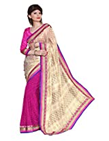 Bahubali Womens Half cotton pettern and half bandhni with heavy work lace(85609_Cream and Dark Pink Colour Saree)