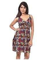 Rajrang Women's Printed Comfortable Spaghetti Dress Cotton Short Dress (Multi Color, Large)