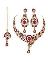 I Jewels Traditional Gold Plated Bridal Jewellery Set with Maang Tikka For Women (Maroon)(M4036M)