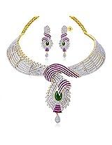Peora 18 Karat Gold Plated Opulent Waves Necklace Set (PF1N112)