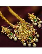 9 Gold Design Immitation Fashion Jewellery Nakshi Laxmi Temple Pendant Mango Long Haaram