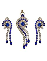 DollsofIndia Dark Blue and White Zirconia Stone Studded Designer Pendant and Earrings - Stone and Metal - Blue
