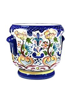 NOVICA Ceramic Flower Pot, Blue Garden