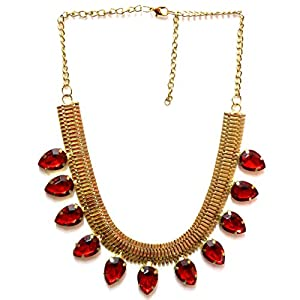 Daamak Jewellery Red Stone Gold Strip Necklace