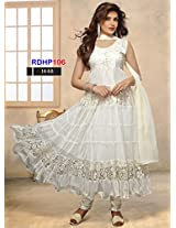 Rozdeal New Designer White Net Brasso Anarkali Suits