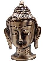 Two Moustaches Brass Buddha Head - Big