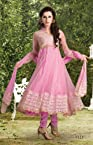 Net Pink Stone And Lace Work Semi Stitched Long Length Anarkali Suit
