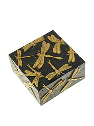 The Niger Bend Square Soapstone Box with Dragonfly Design