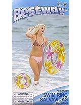 "Bestway 30"" Designer Swim Ring - Yellow Floral"