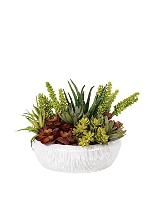 Lux-Art Silks Large Mixed Succulent in White Bowl, Green