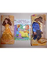 """Disney Classic 2 Doll Set 12""""H (Beauty And The Beast & Coloring Book)"""