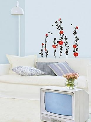 Vinilo Adhesivo árbol y flores rojos Multicolores