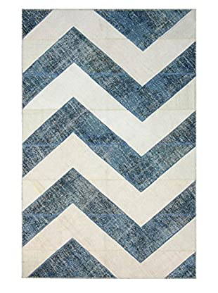 nuLOOM One-of-a-Kind Hand-Knotted Vintage Turkish Overdyed Rug, Blue, 6' 8