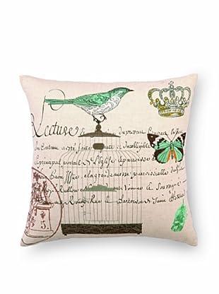 "Kathryn White Lecture Birdcage Pillow, Brown/Seafoam, 18"" x 18"""