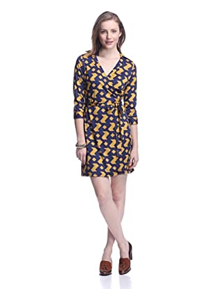 JB by Julie Brown Women's Milo Wrap Dress with Collar (Navy/Gold Houndstooth)