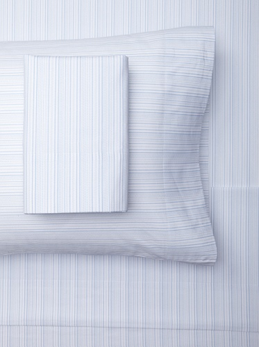 sOUP Home Hyphen Stripe Sheet Set (White/Chambray)
