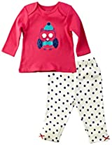 Infant Girls Full Sleeves Tee with Printed Legging, Fuchsia (0-6 Months)