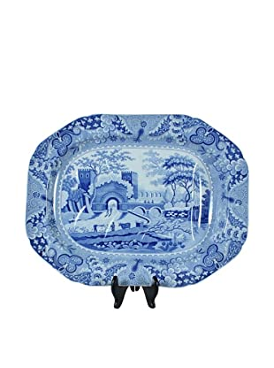 English Blue & White Meat Tray, White/Blue