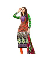 Ali Colours Cotton Embroidered Dress Material For Women