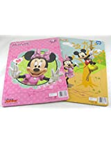 2 Disney Junior 16 Piece Jigsaw Puzzles for Girls (Minnie Mouse Bow-tique & Mickey Mouse Clubhouse)
