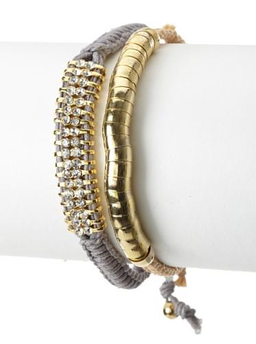 Shashi Two Row Delicate Gold Snake Adjustable Bracelet Set, Grey/Beige Snake