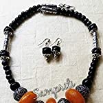 Handcrafted Tribal necklace with matching earrings.