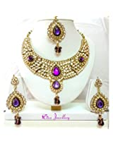 Diva Kundan Purple Indian Bollywood Necklace Earrings Tika Set For Women