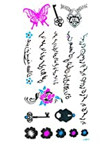 Spestyle Temporary Jewelry Tattoos Blue And Silver Fluorescent Metallic Jewelry Tattoo Butterfly, Flowers, Key And Ancient Words