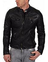 HugMe.fashion Men's Leather Jacket (JK25_Black_4XL, Black, 4XL)