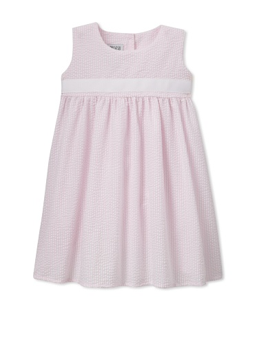 Noa Lily Girl's Empire Seersucker with White Ribbon Dress (Light Pink)