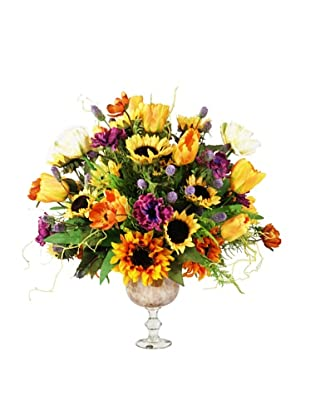 Creative Displays Orange, Yellow, & Purple Sunflower & Tulip Floral in Glass Urn, 30x30x28
