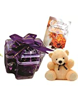 Skylofts Plus with a cute teddy and A Congratulations card ( 17pc chocolate with Thermocol box protection for summers)