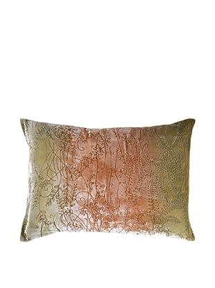 Kevin O'Brien Studio Hand-Painted Devore Velvet Twigs Pillow (Burnt Sage)