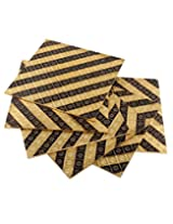 Attractive Golden Wood Placemat Set Striped Embossed By Rajrang