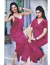 Indiatrendzs Women's Sexy Hot Nighty Pink 2pc Set Bedroom Sleepwear Freesize