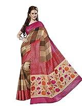 Pink & Beige Colour Faux Bhagalpuri Semi Party Wear Shiny Lotus Printed Saree 13339